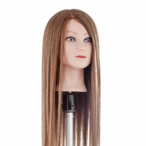 Babafej extra hosszú kevert hajjal 60cm SÖTÉTSZŐKE