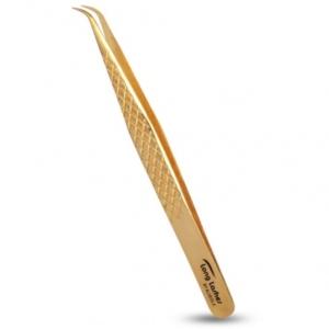 Long Lashes csipesz enyhén hajlított - arany, 12cm
